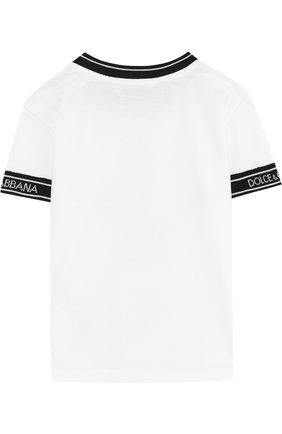 Хлопковая футболка с контрастной отделкой | Фото №2