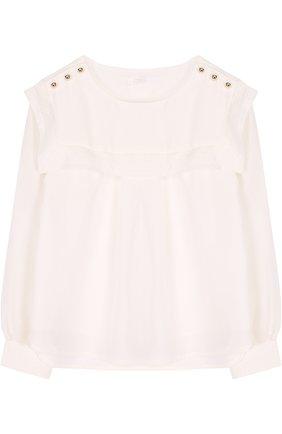 Шелковая блуза свободного кроя с оборкой | Фото №1