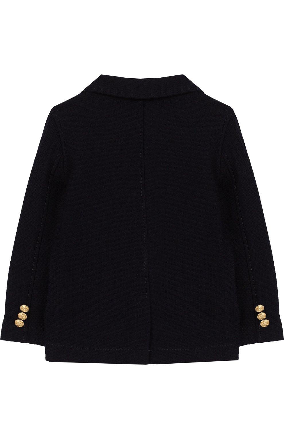 Однобортный пиджак из хлопка с декоративными пуговицами | Фото №2