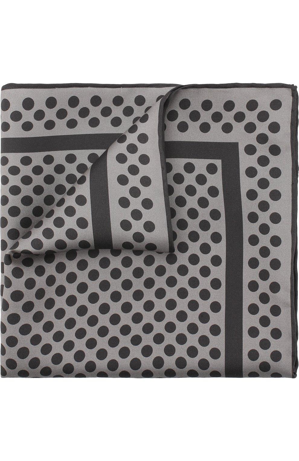 Мужской шелковый платок с узором TOM FORD серого цвета, арт. 3TF102/TF312 | Фото 1