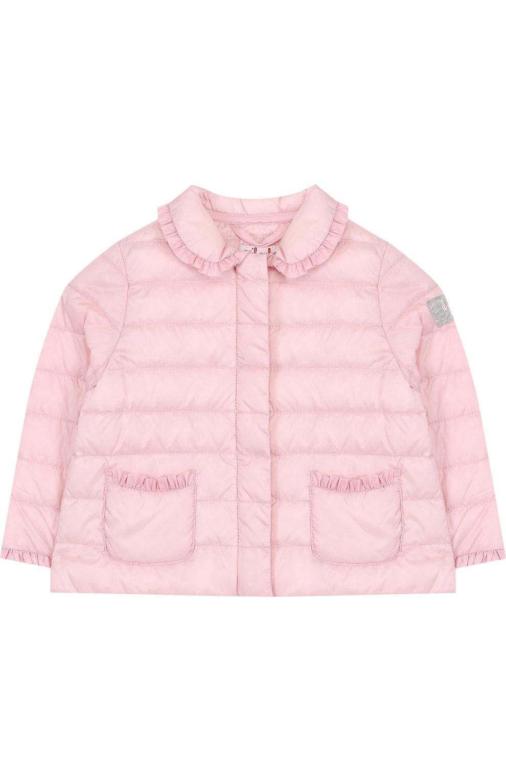 Детского пуховая куртка с оборками IL GUFO розового цвета, арт. P18GR108N0035/2A-4A   Фото 1