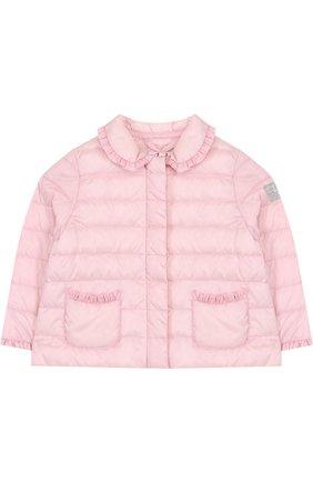 Детского пуховая куртка с оборками IL GUFO розового цвета, арт. P18GR108N0035/2A-4A | Фото 1
