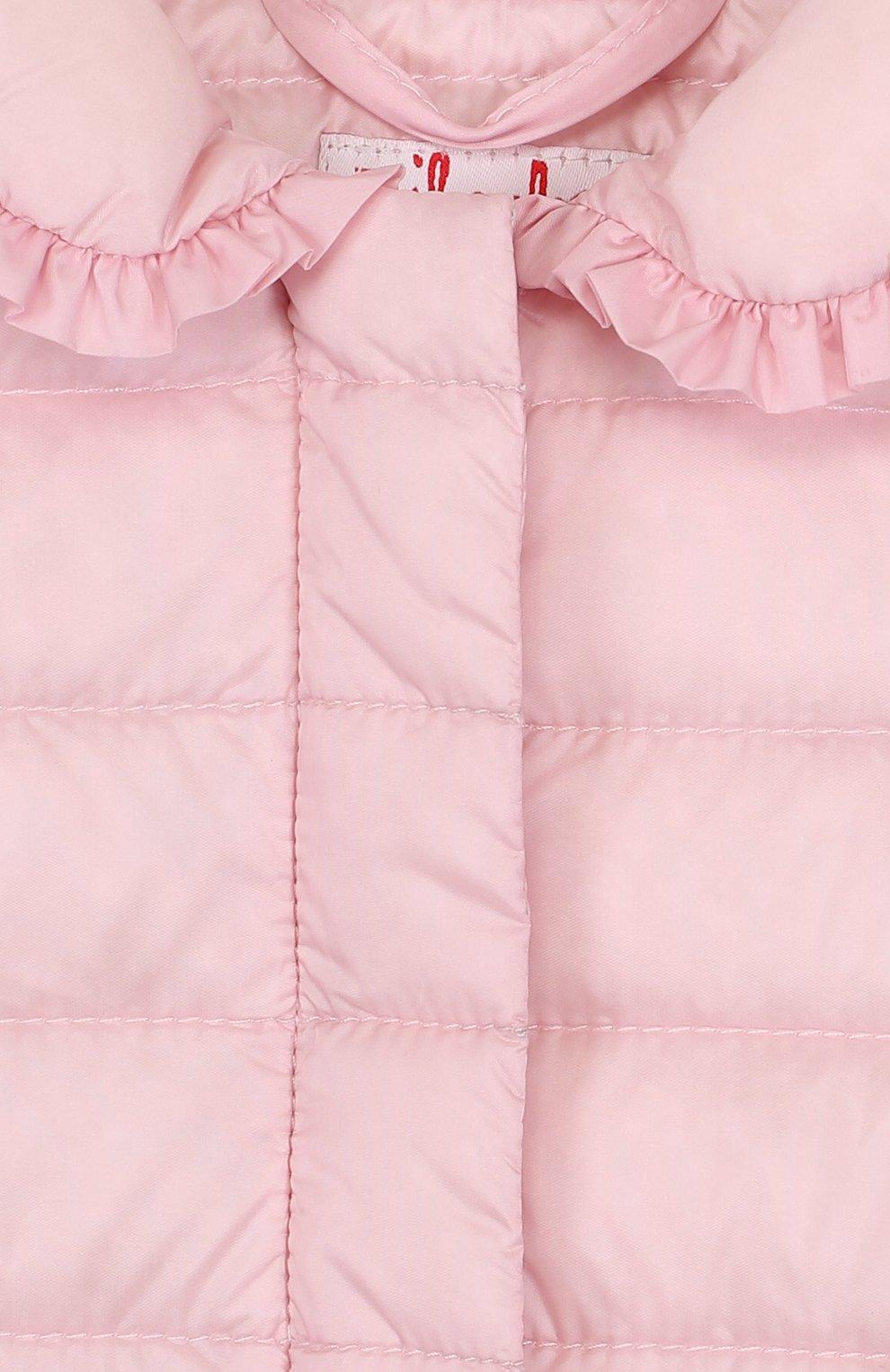 Детского пуховая куртка с оборками IL GUFO розового цвета, арт. P18GR108N0035/2A-4A   Фото 3