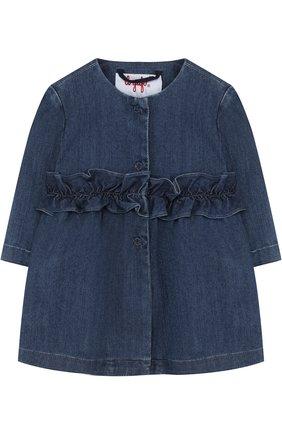 Детского джинсовый плащ с оборкой и круглым вырезом IL GUFO синего цвета, арт. P18GE026J0003/3M-9M   Фото 1