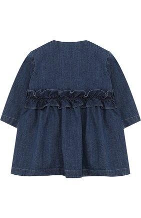 Детского джинсовый плащ с оборкой и круглым вырезом IL GUFO синего цвета, арт. P18GE026J0003/3M-9M   Фото 2