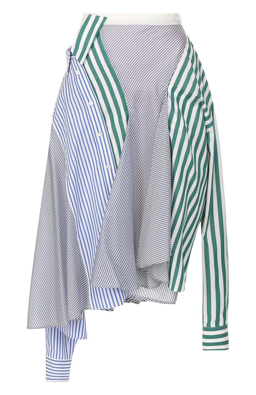 Женская хлопковая юбка асимметричного кроя в полоску SACAI разноцветного цвета, арт. 18-03840 | Фото 1