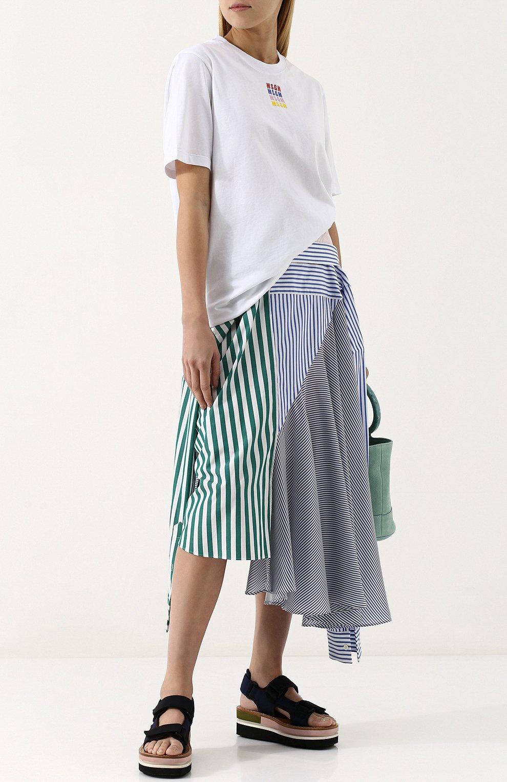 Женская хлопковая юбка асимметричного кроя в полоску SACAI разноцветного цвета, арт. 18-03840 | Фото 2