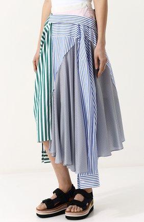 Женская хлопковая юбка асимметричного кроя в полоску SACAI разноцветного цвета, арт. 18-03840 | Фото 3