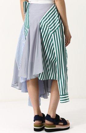 Женская хлопковая юбка асимметричного кроя в полоску SACAI разноцветного цвета, арт. 18-03840 | Фото 4