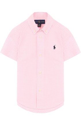 Хлопковая рубашка в клетку и воротником button down | Фото №1