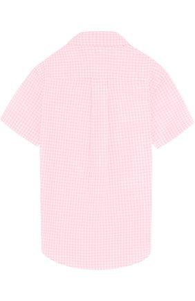 Детская хлопковая рубашка в клетку и воротником button down POLO RALPH LAUREN розового цвета, арт. 321692694 | Фото 2 (Статус проверки: Проверена категория; Рукава: Короткие; Материал внешний: Хлопок; Принт: С принтом; Случай: Повседневный)