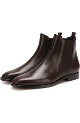 Мужские классические кожаные челси RALPH LAUREN темно-коричневого цвета, арт. 815691077 | Фото 1