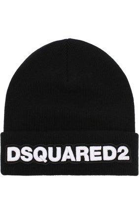 Шерстяная вязаная шапка  с логотипом бренда   Фото №1