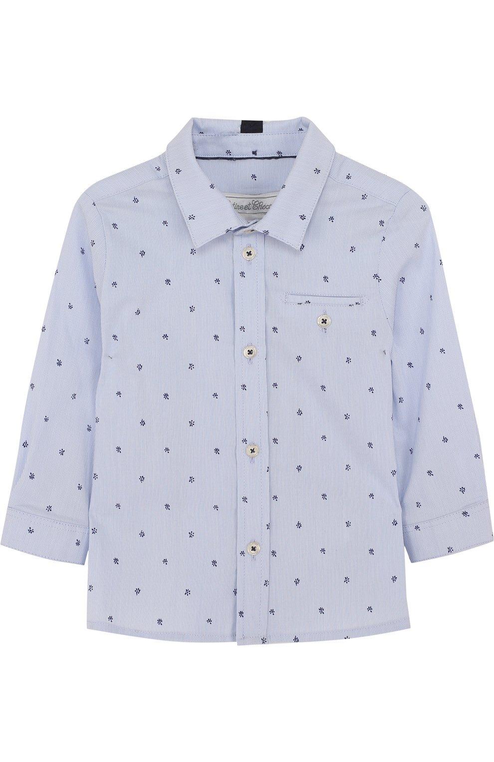 Детский хлопковая рубашка с принтом TARTINE ET CHOCOLAT голубого цвета, арт. TL12081/1M-18M | Фото 1