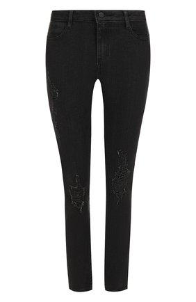 Джинсы-скинни с потертостями DKNY черные | Фото №1