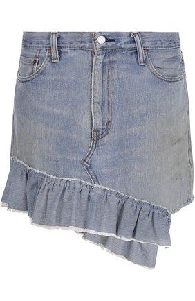 Джинсовая мини-юбка асимметричного кроя с потертостями | Фото №1