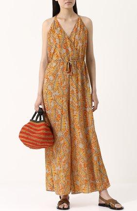 Приталенный шелковый комбинезон с принтом Lazul оранжевое | Фото №2