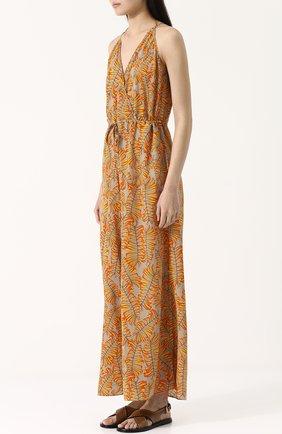 Приталенный шелковый комбинезон с принтом Lazul оранжевое | Фото №3
