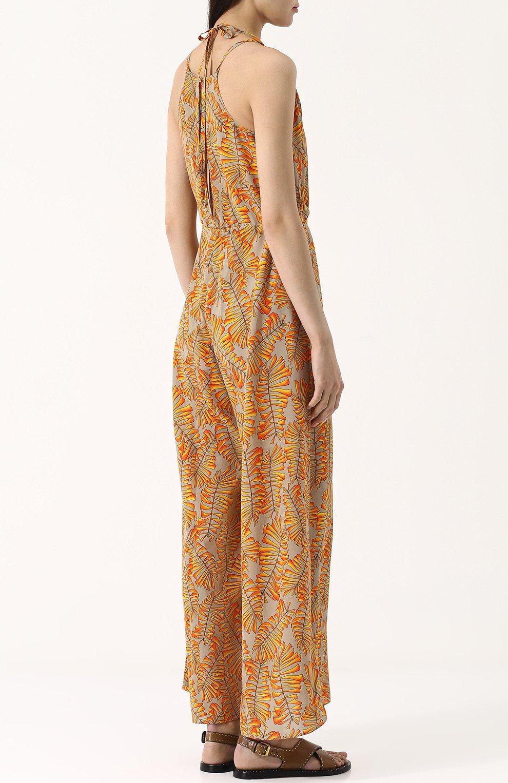 Приталенный шелковый комбинезон с принтом Lazul оранжевое | Фото №4