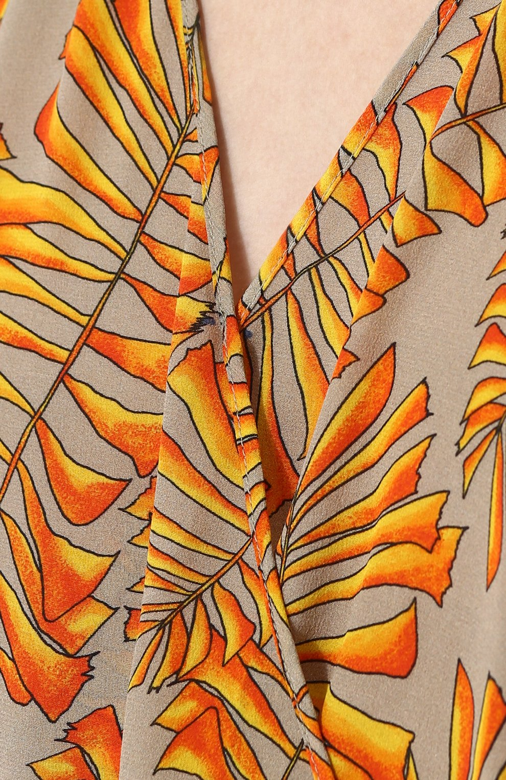 Приталенный шелковый комбинезон с принтом Lazul оранжевое | Фото №5