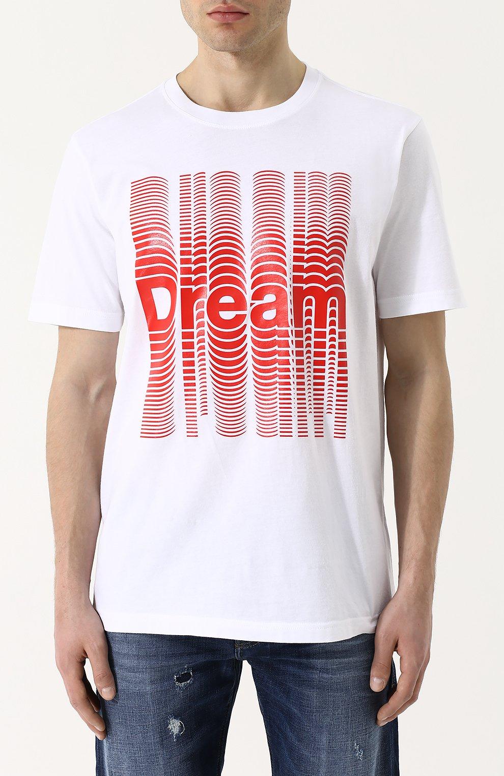 Хлопковая футболка с принтом Diesel белая | Фото №3