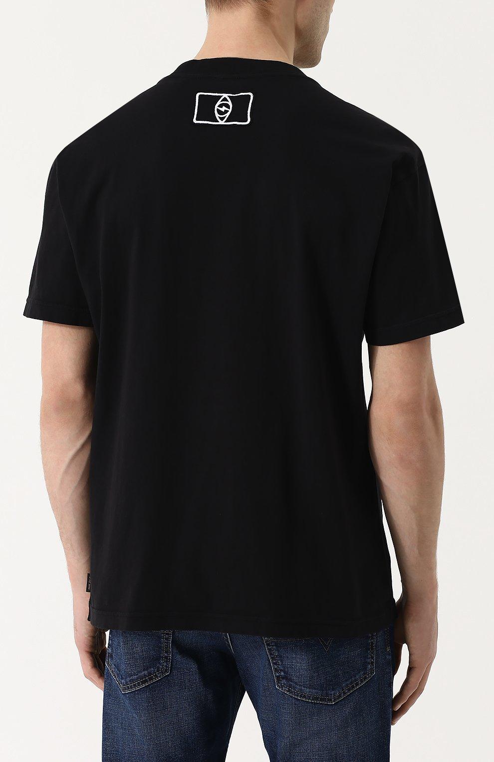 Хлопковая футболка с принтом Diesel черная | Фото №4