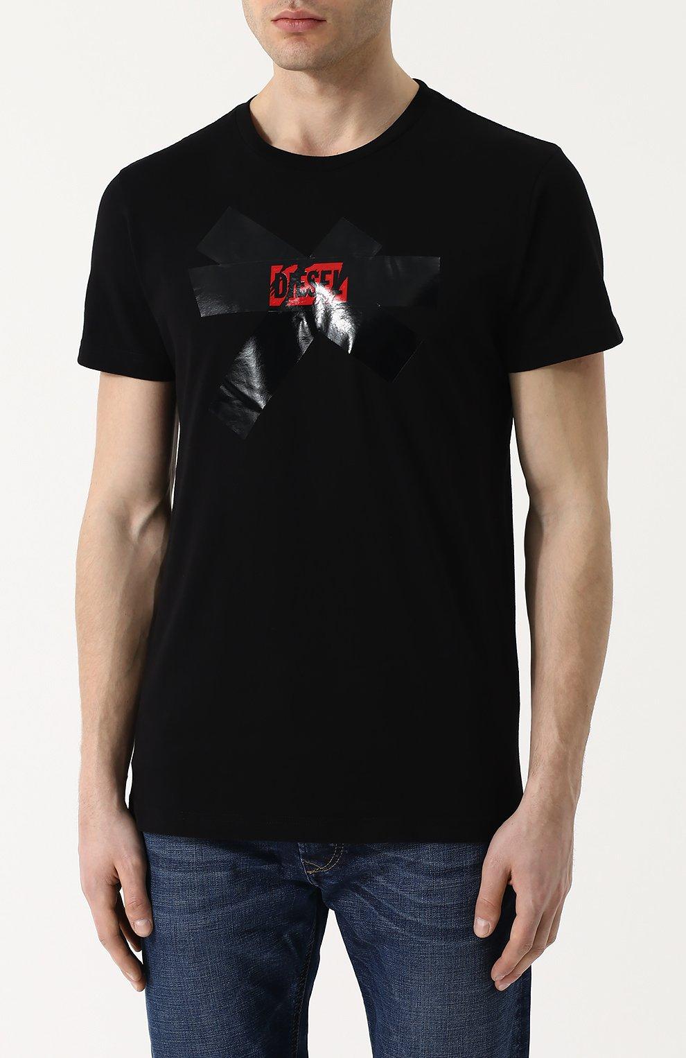 Хлопковая футболка с принтом Diesel черная | Фото №3