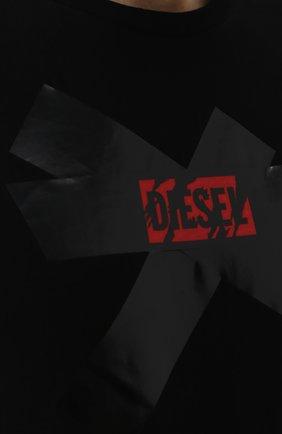 Хлопковая футболка с принтом Diesel черная | Фото №5