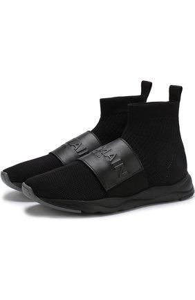 Высокие текстильные кроссовки Cameron с кожаным ремешком | Фото №1