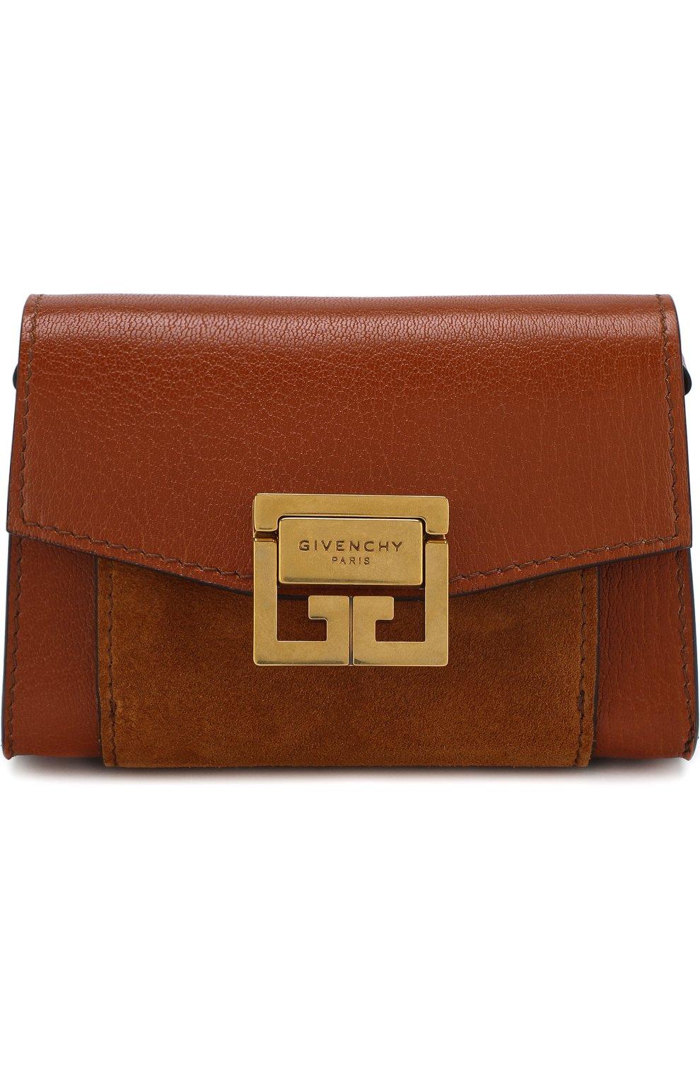 Женская поясная сумка gv3 nano GIVENCHY темно-коричневого цвета, арт. BB6018B033 | Фото 1