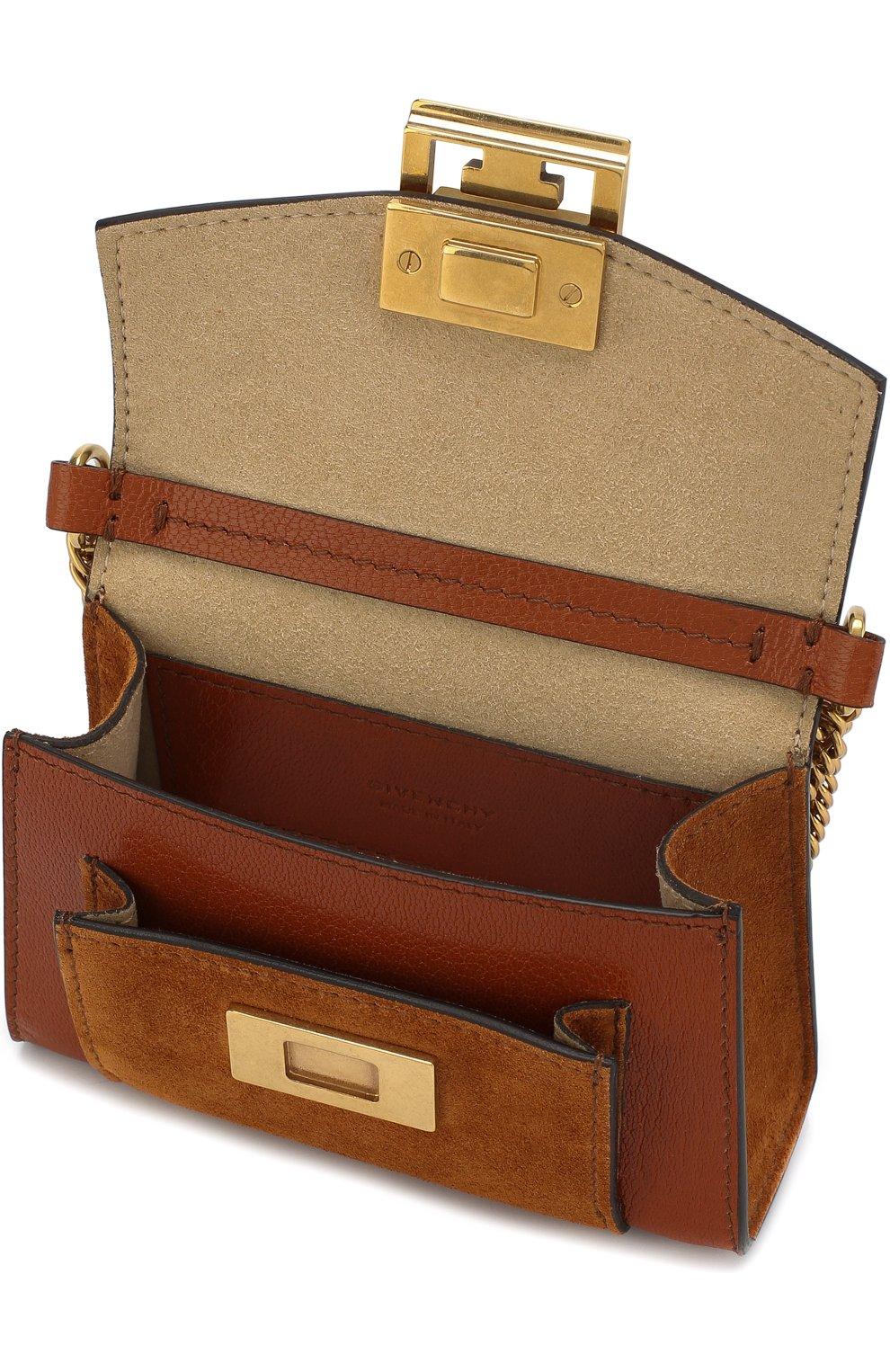 Женская поясная сумка gv3 nano GIVENCHY темно-коричневого цвета, арт. BB6018B033 | Фото 4