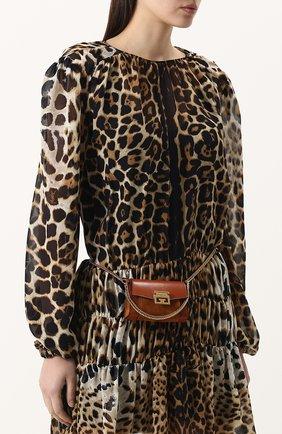 Женская поясная сумка gv3 nano GIVENCHY темно-коричневого цвета, арт. BB6018B033 | Фото 5