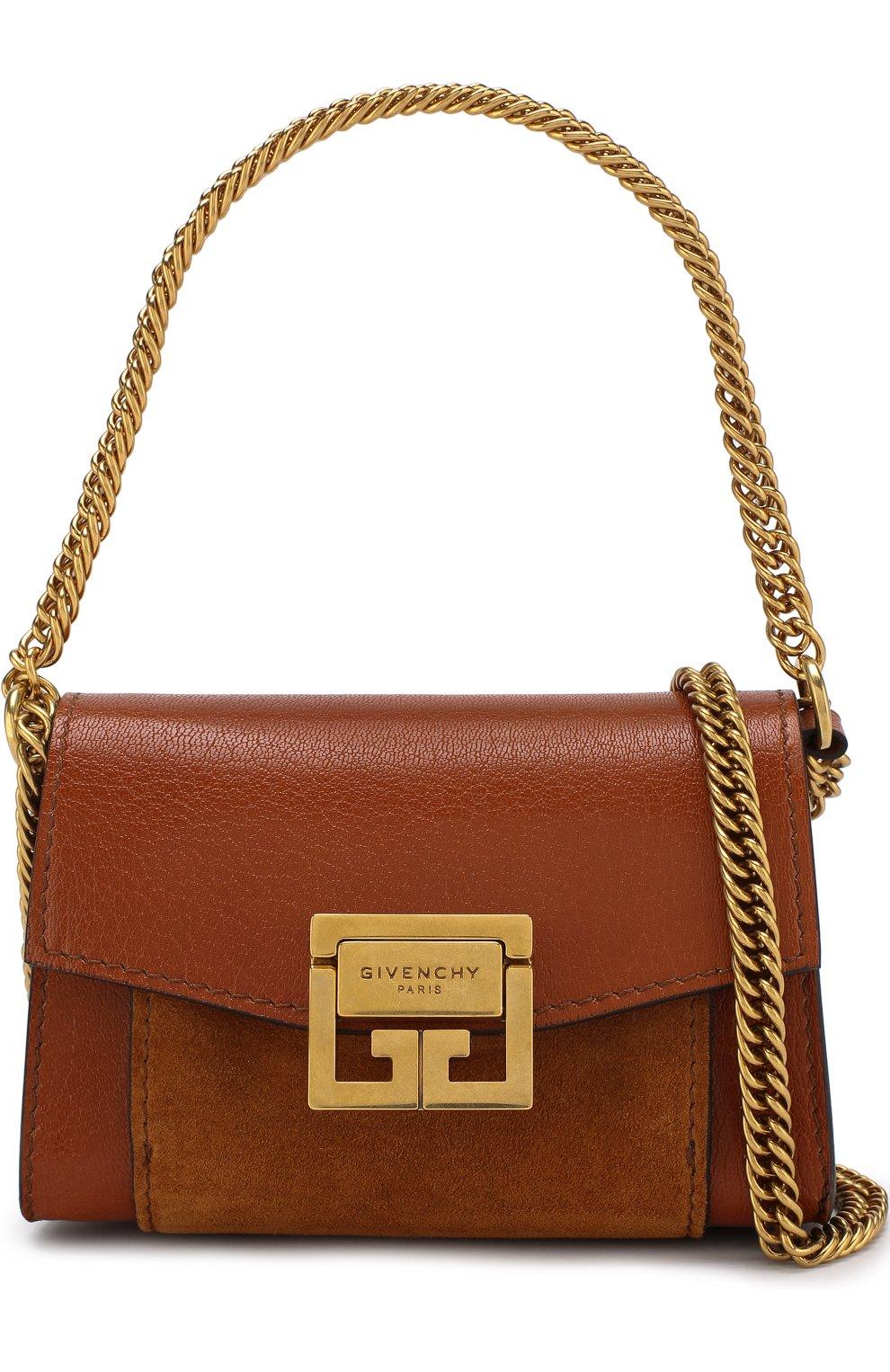 Женская поясная сумка gv3 nano GIVENCHY темно-коричневого цвета, арт. BB6018B033 | Фото 6