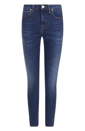 Укороченные джинсы-скинни с потертостями Two Women In The World синие | Фото №1
