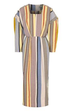 Приталенное хлопковое платье-миди в полоску | Фото №1