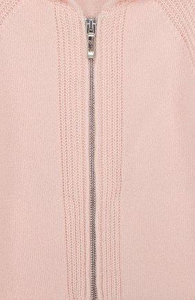 Детский кашемировый кардиган на молнии с капюшоном LORO PIANA светло-розового цвета, арт. FAI0796 | Фото 3