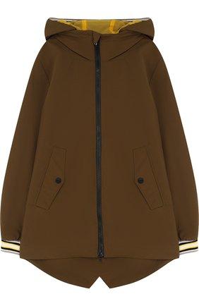 Удлиненная куртка на молнии с капюшоном   Фото №1