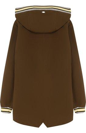 Удлиненная куртка на молнии с капюшоном Herno хаки цвета   Фото №1