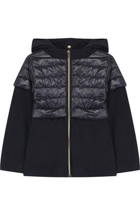 Текстильная куртка с капюшоном и стеганой отделкой Herno синего цвета   Фото №1