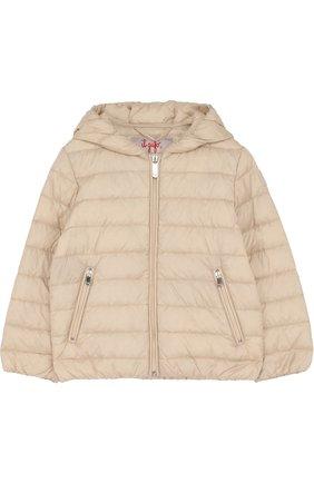 Детского пуховая куртка с капюшоном IL GUFO бежевого цвета, арт. P18GR088N0035/5A-8A | Фото 1