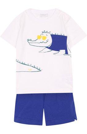 Детский хлопковый комплект из футболки и шорт IL GUFO синего цвета, арт. P18DP1A1M0014/12M-18M | Фото 1