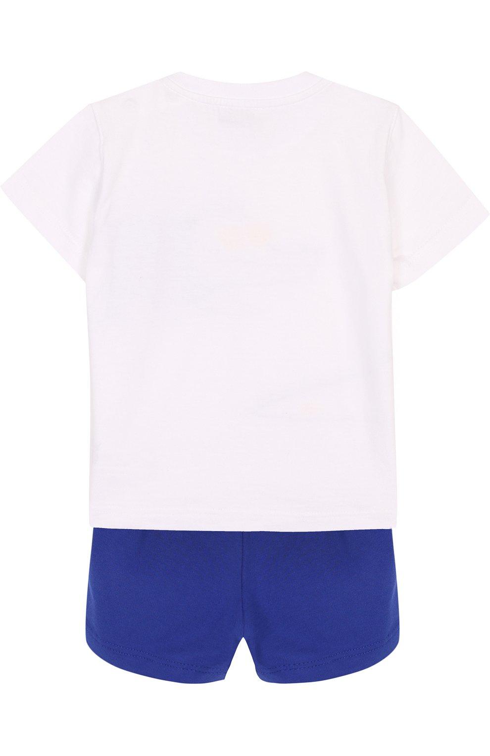 Детский хлопковый комплект из футболки и шорт IL GUFO синего цвета, арт. P18DP1A1M0014/12M-18M   Фото 2