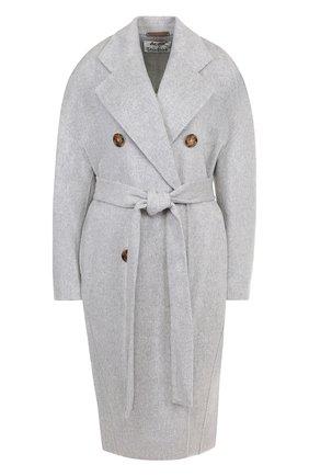 Пальто из смеси шерсти и кашемира с поясом Acne Studios серого цвета | Фото №1
