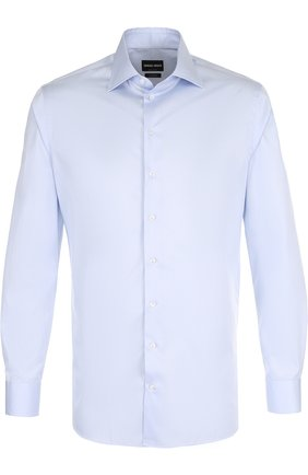 Мужская хлопковая сорочка с воротником кент GIORGIO ARMANI голубого цвета, арт. WSCMRT/WS10C | Фото 1
