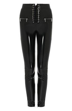 Брюки-скинни с завышенной талией и шнуровкой Ben Taverniti Unravel Project черные | Фото №1