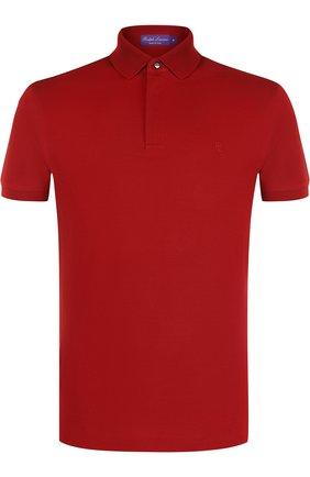 Мужское хлопковое поло с короткими рукавами RALPH LAUREN красного цвета, арт. 790597621   Фото 1