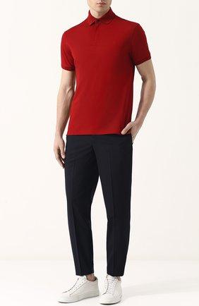 Мужское хлопковое поло с короткими рукавами RALPH LAUREN красного цвета, арт. 790597621   Фото 2