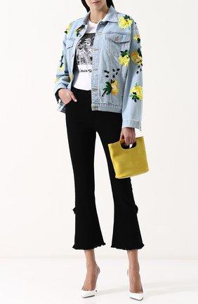 Джинсовая куртка с потертостями и контрастной отделкой Dalood голубая   Фото №1