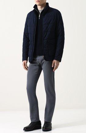 Стеганая куртка на молнии с воротником-стойкой Bogner темно-синяя | Фото №1