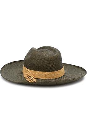 Соломенная шляпа с плетеной лентой Artesano оливкового цвета | Фото №1